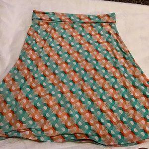 Lularoe azure skirt, EUC, XL, teal and coral